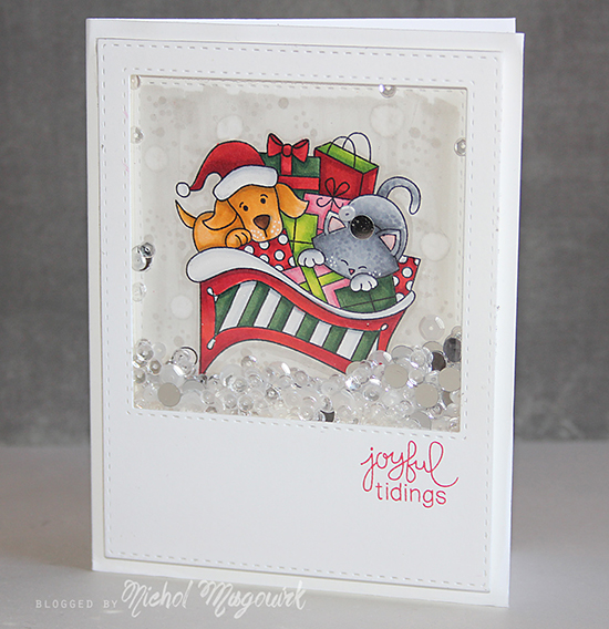 Cat and Dog in Sleigh | Card by Nichol Magouirk for Newton's Nook Designs | Christmas Delivery Stamp Set
