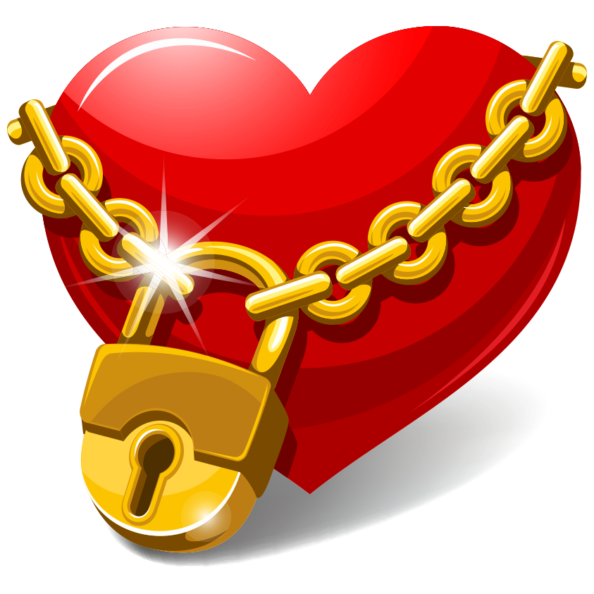 Heart Locked with Golden Chain | Symbols & Emoticons