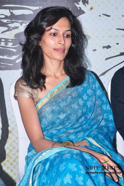 yasmin ponnappa the Aaranya Kaandam actress hot look in a blue saree