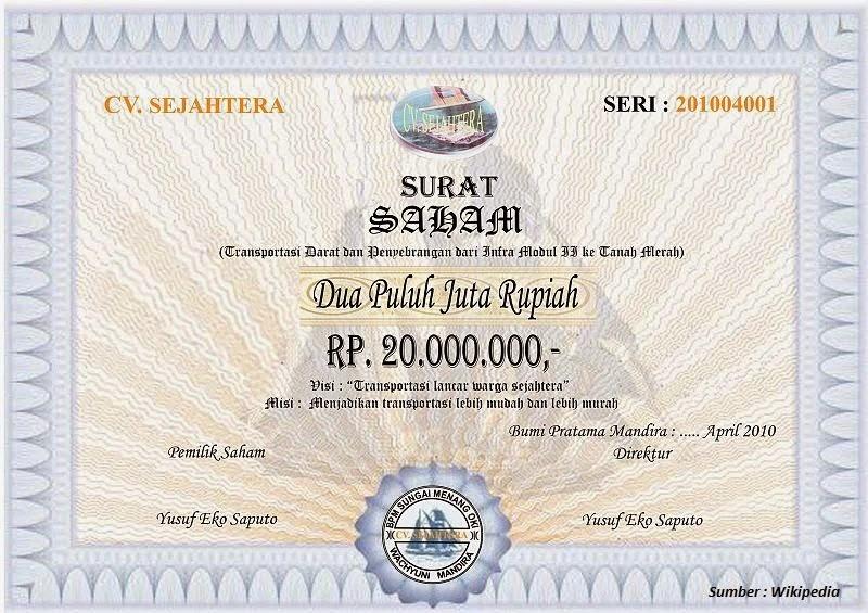 Contoh sebuah sertifikat saham