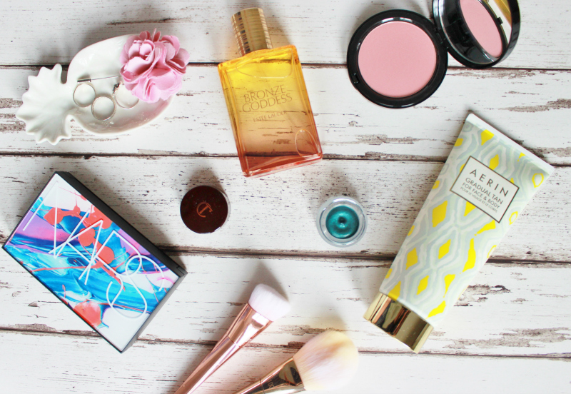Selfridges summer beauty picks close up - Estee Lauder Bronze Goddess, Bobbi Brown Illuminating Bronzer, CHarlotte Tilbury Eye shadow, Aerin self tanner, NARS lip crayon set