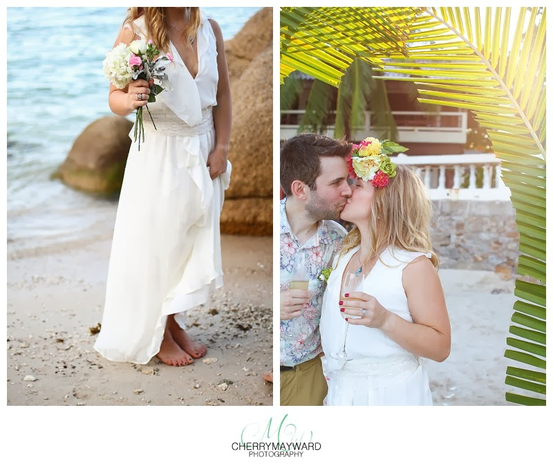 monsoon wedding dress, Koh samui wedding, Thailand Beach wedding, palm leaves in the sun, carefree, barefoot wedding on the beach, beautiful wedding photography in thailand, the best wedding photography in thailand, love, sweet kiss on the beach, bride holding bouquet on the beach