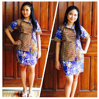 model baju batik online terbaru dress warna biru