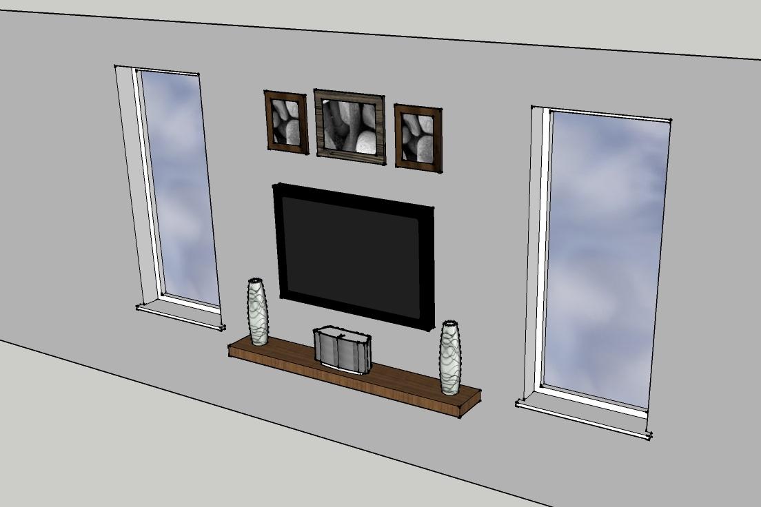 enzy living tv wall and a floating shelf. Black Bedroom Furniture Sets. Home Design Ideas