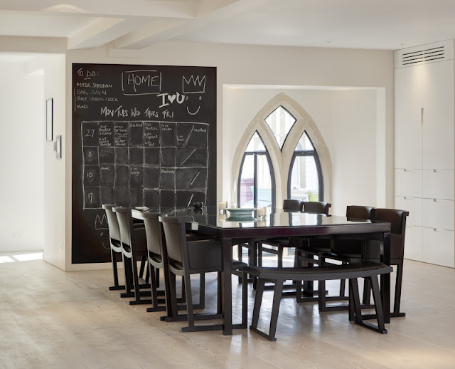 Picture of modern black dining table and chairs in the dining room