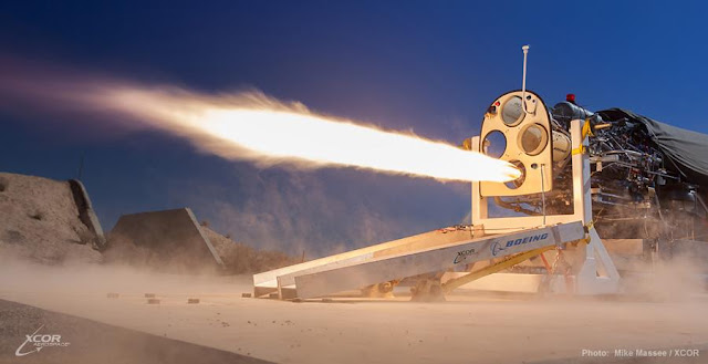The XCOR® Lynx® rocket propulsion system is tested under full piston pump power. Credit: Mike Massee/XCOR