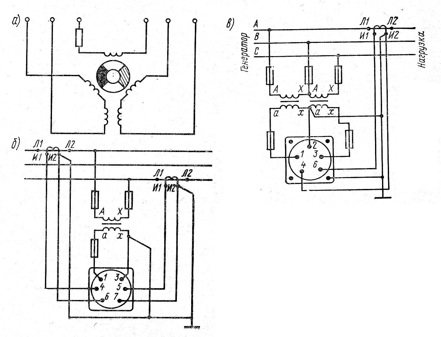 Принципиальная схема (а) и схемы включения электромагнитных фазометров Э150 (б) и Э160 (в)