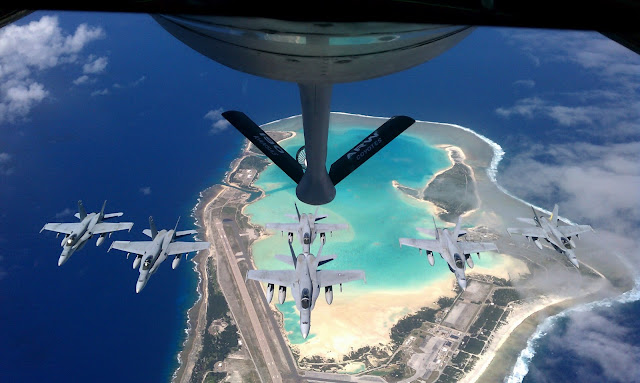 Refueling of Navy F/A-18 Hornets over Wake Island.