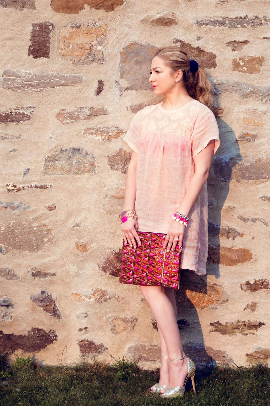 Linen dress, jimm choo, beaded clutch