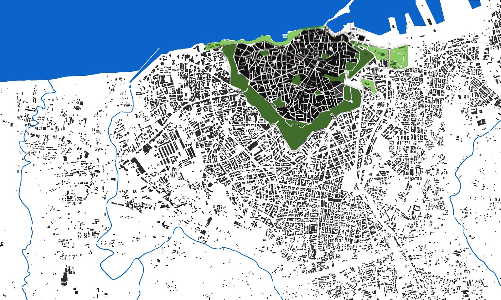 i used miro s figure ground map as a base in illustrator to highlight the water and green spaces of the city i noticed most of the green spaces follow the