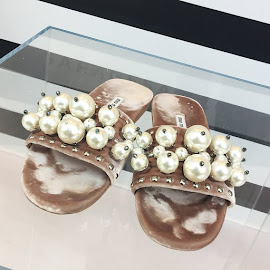 Miu Miu Pearl embellished jacquard velvet slides.