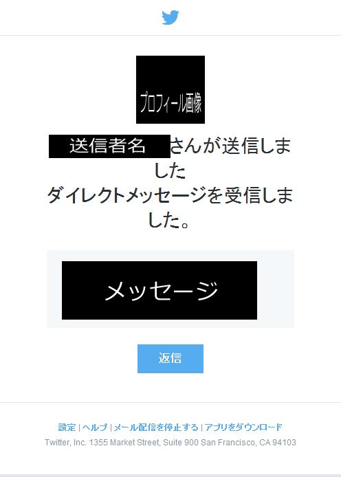 2015/5/1 に受信した、 新しくなった Twitter のダイレクトメッセージの受信メール