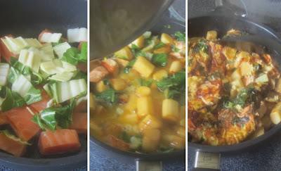 Zubereitung Trümmer-Omelett mit Spargel, Lachs und Mangold, Zubereitung Omelette