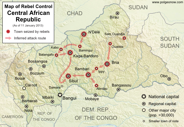 Map of 2012-2013 rebellion in the Central African Republic, showing current rebel control as of January 11, 2013