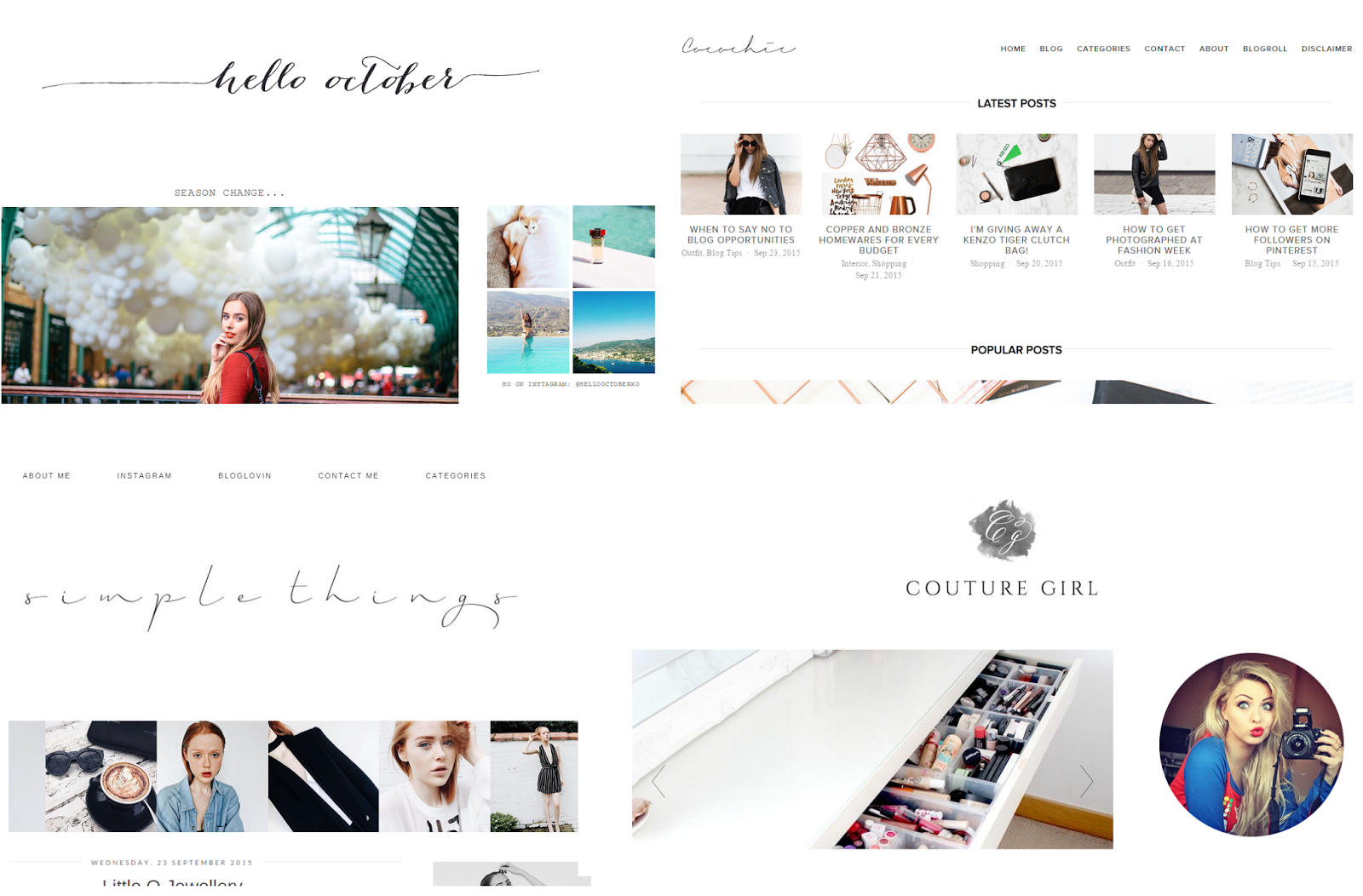 Some of my favourite bloggers, Hello October, Holly Loves The Simple Things, Coco Chic, Couture Girl