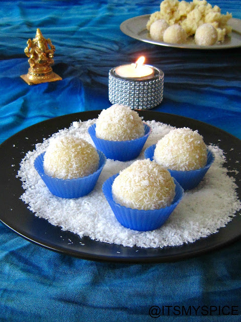 Superquick coconut ladoos-made with dessicated milk and condensed milk