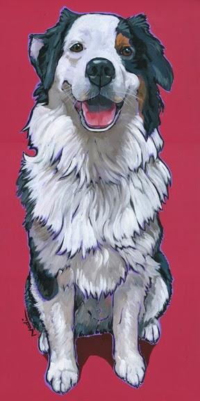 dog painting, Aussie, Australian Shepherd