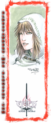 Acuarela (marcapáginas) del personaje Maifira del juego de cartas ÉPICA: Edades Oscuras realizado por ªRU-MOR. Fantasía medieval