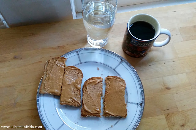 Tasty Tuesday, Food Diary, coffee, breakfast, toast, peanut butter, water, healthy, diet