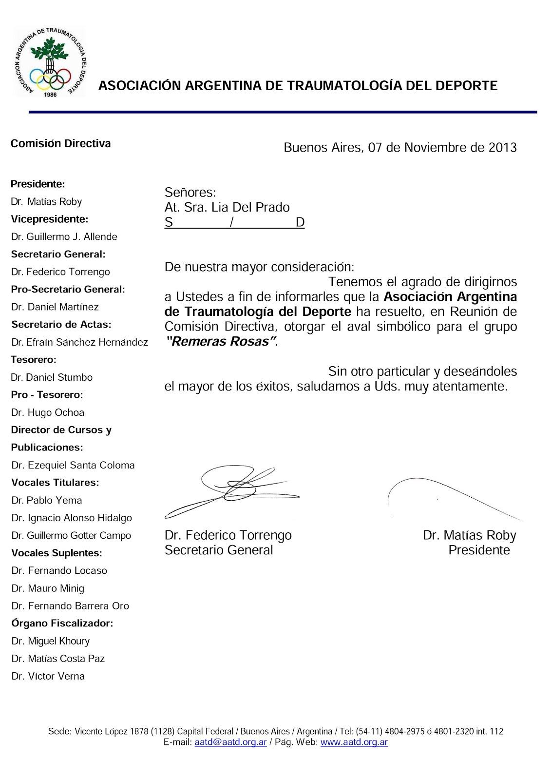 Aval Simbolico de la Asociación Argentina de Traumatología del Deporte