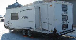 Travel trailer with slideout extended