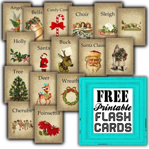 Free Printable Vintage Christmas Flash Cards