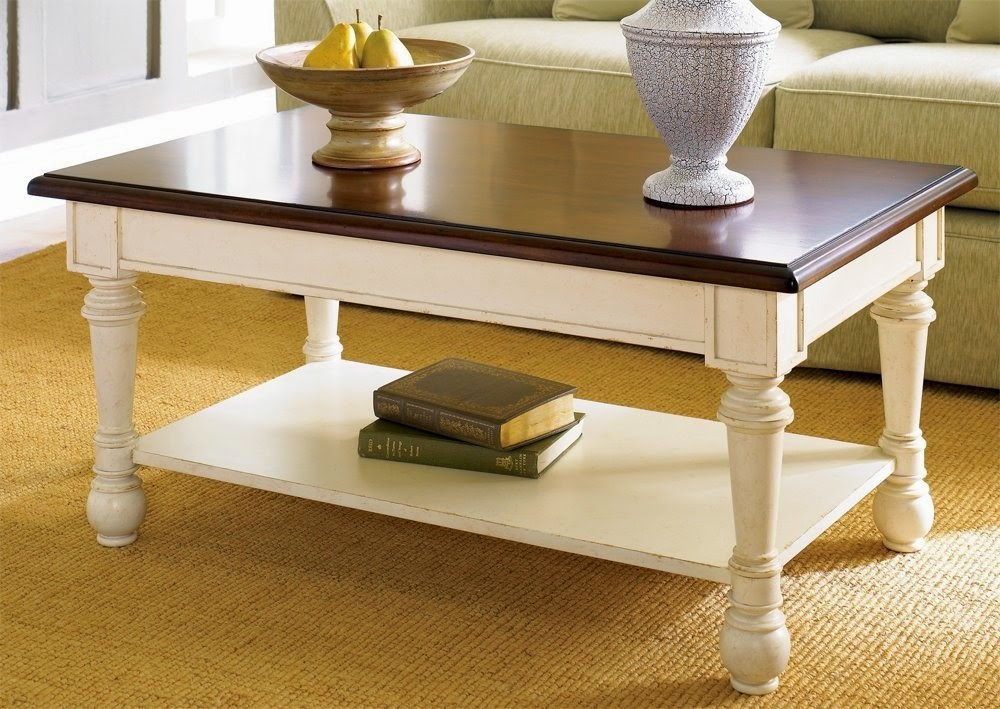 Hammary promenade rectangular antique white coffee table for Vintage coffee table