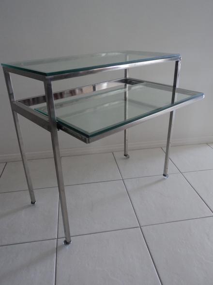 Artesanato Na Rede ~ Mesa em aço inox, vidro e rodízio Design Inox