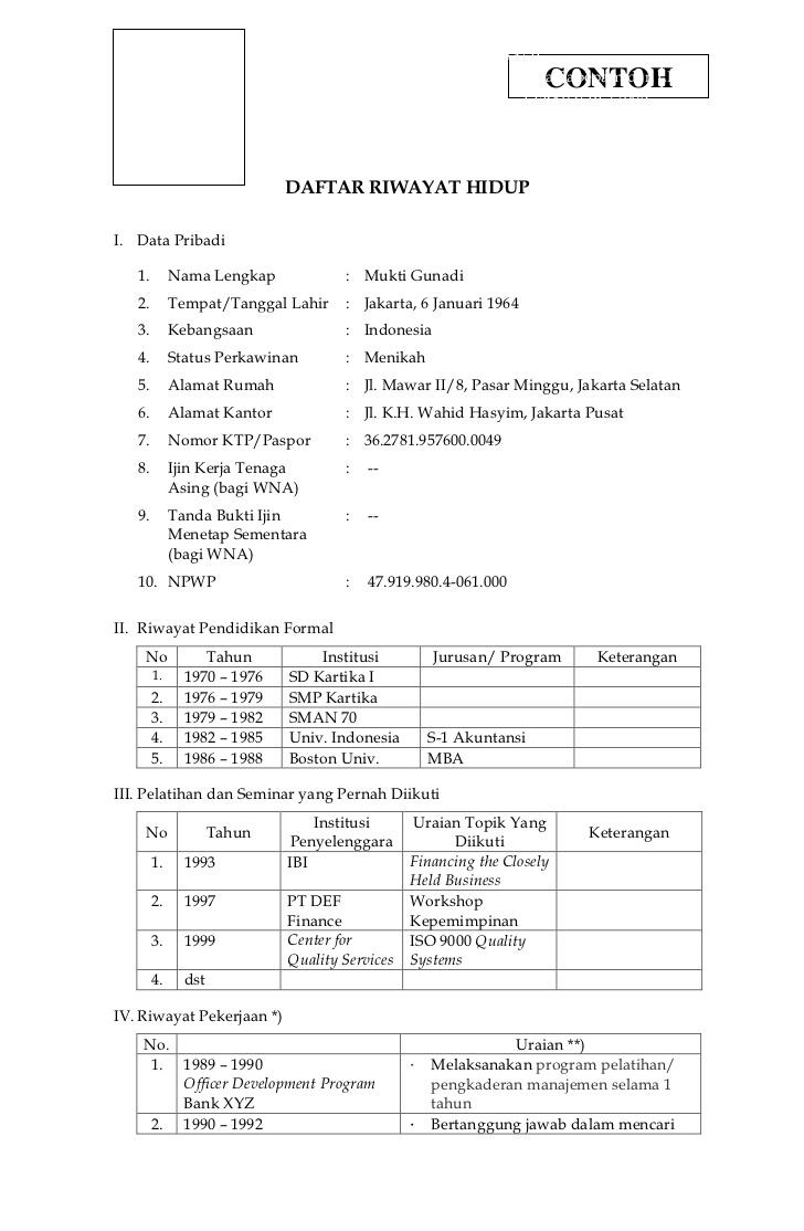 contoh singkat curriculum vitae bahasa indonesia - Info ...