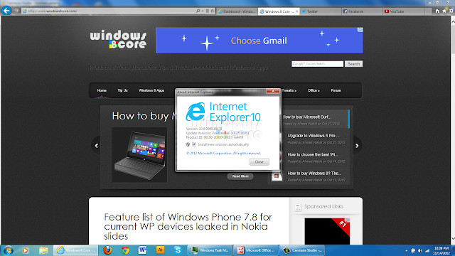 Internet Explorer 10 for Windows 7 - Interface