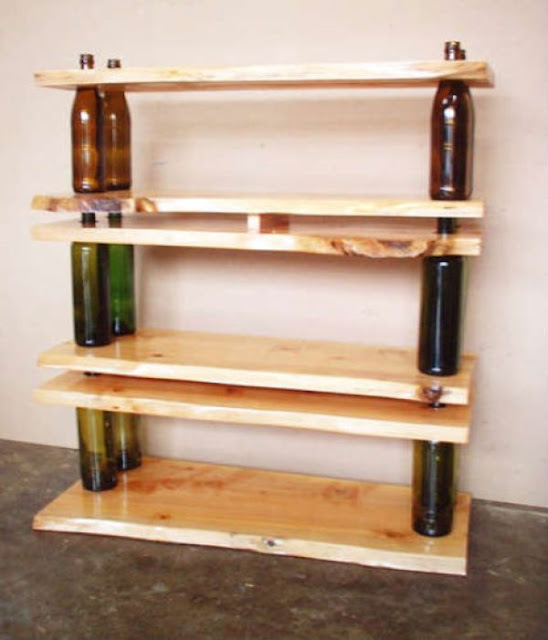 Empty Bottles and Wood Boards Shaping Simple Sturdy Bookshelves