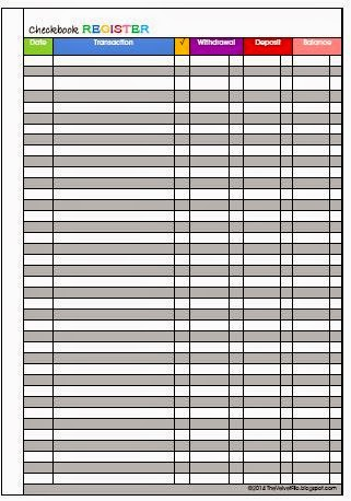 Versatile image pertaining to checkbook register printable