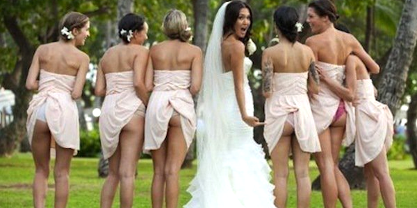 bridesmaids pull up their dresses and show off their butts