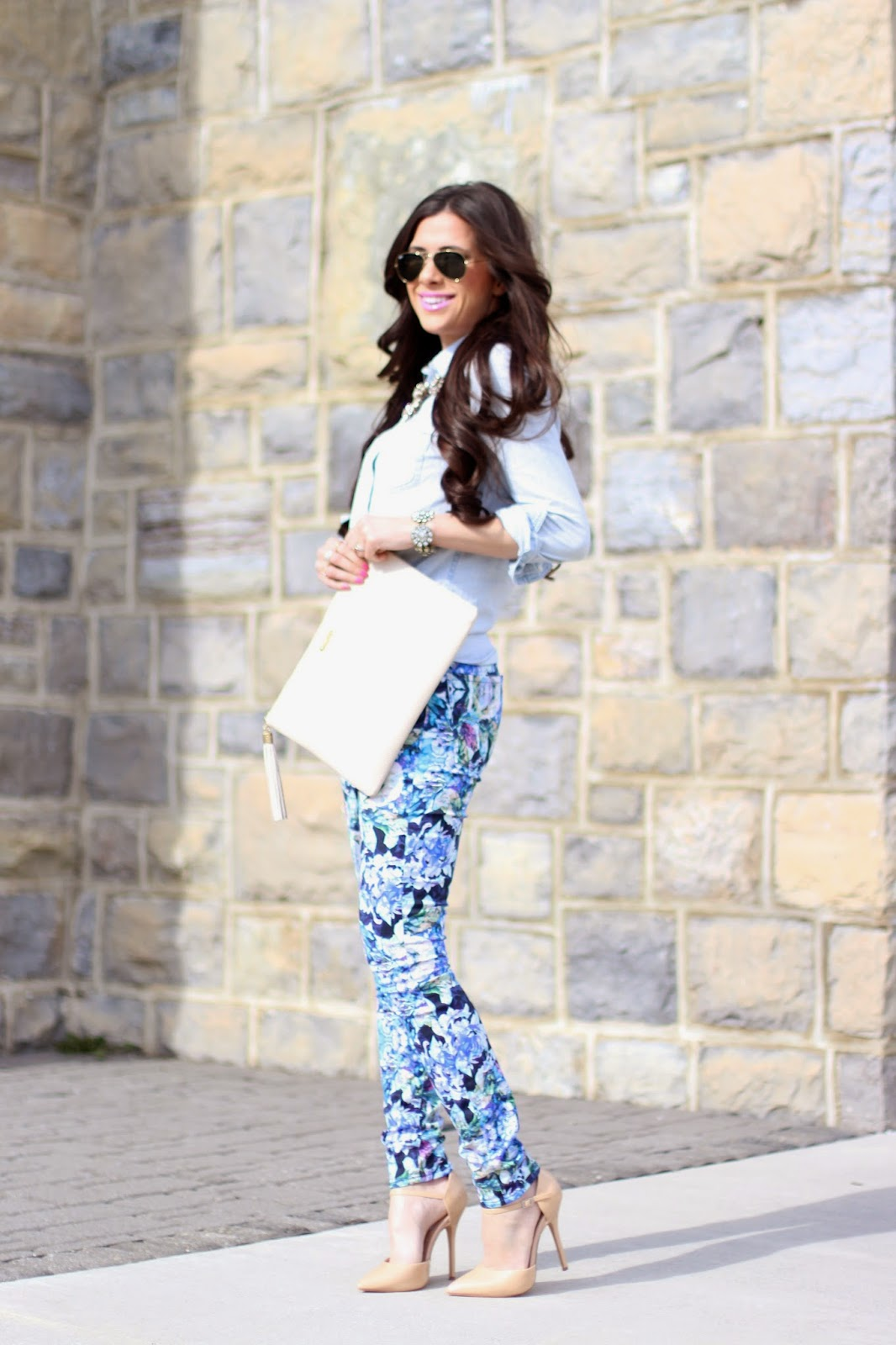 www.thesweetestthingblog.com, Emily Gemma, Seven Jeans, 7FAM kaleidoscope floral print denim, indigo little rock, j.crew chambray popover, rayban aviators, saint germain by mac, nude pumps, spring fashion 2014, spring trends 2014, summer pinterest fashion, michael kors runway watch, bauble bar ring, gigi new york clutch, j.crew crystal lattice necklace, jcrew inspired necklace, vinylux nail polish