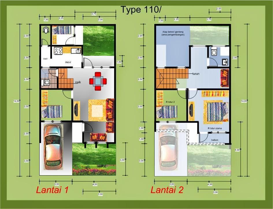 Desain Rumah Minimalis 2 Lantai Tipe 72