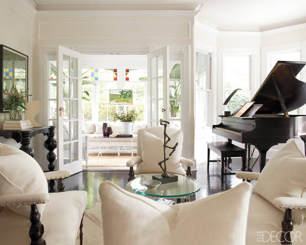 elle decor beautiful black and white neutral living room