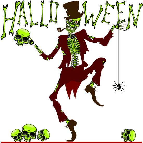 Esqueleto danzante de Halloween vintage