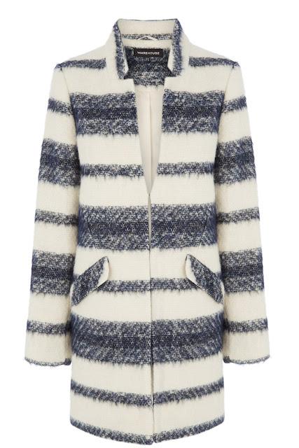 warehouse striped coat, white blue stripe coat, stripe wool coat,