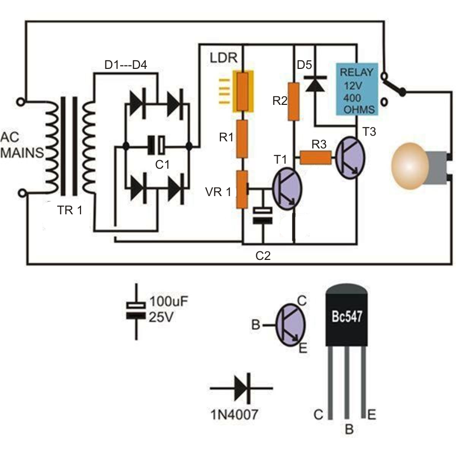 Automatic night light pcb layout - Simple Automatic Street Light System