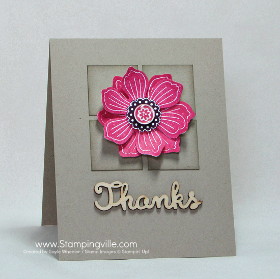 Clean and simple thank you card with punched and layered Bloom For You stamp.