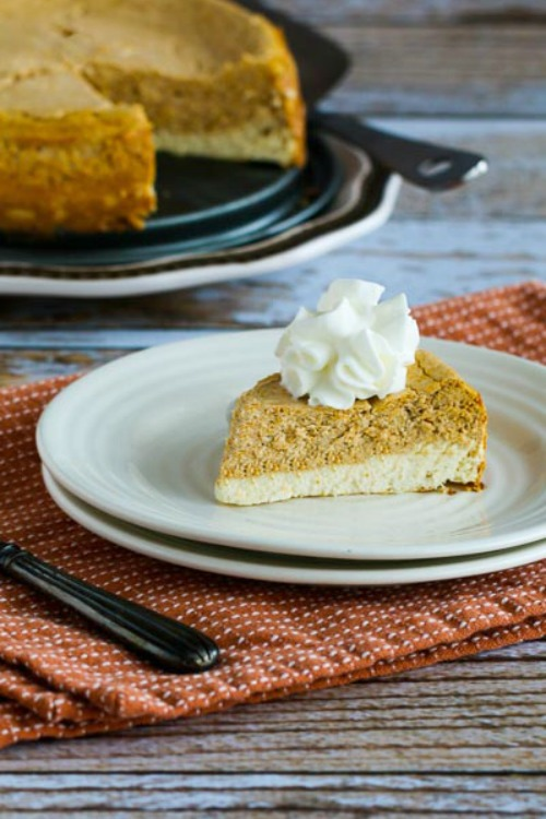 Low-Sugar (or Sugar-Free) Layered Pumpkin Cheesecake [found on KalynsKitchen.com]