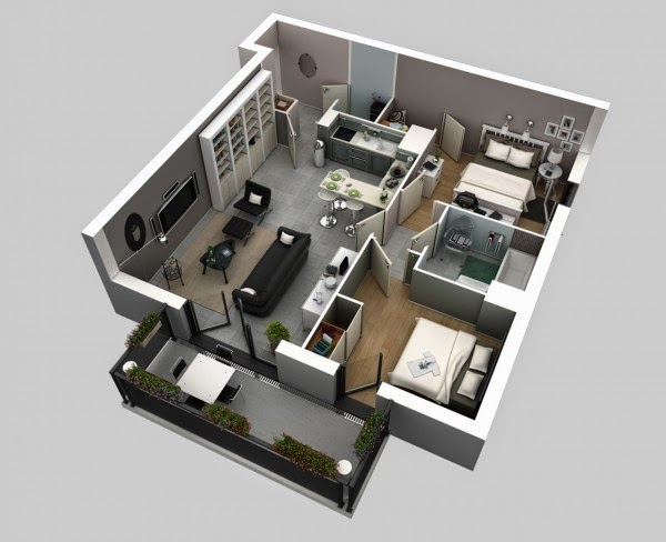 2 bedroom apartment house plans free stuffs for sketchup Room visualizer furniture