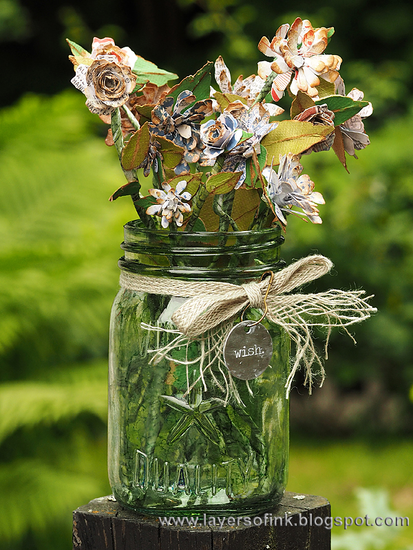 Layers of ink - Quilled Flowers in a Mason Jar video tutorial by Anna-Karin