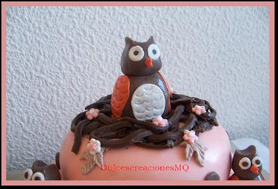 Tarta Búho Owl Cumpleaños Aniversario Niña  Fondant Pasta Goma Azúcar Dulce Bizcocho Flores Ramas