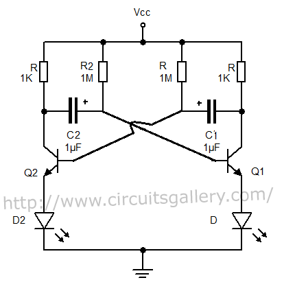 astable multivibrator using transistors transistorised circuit