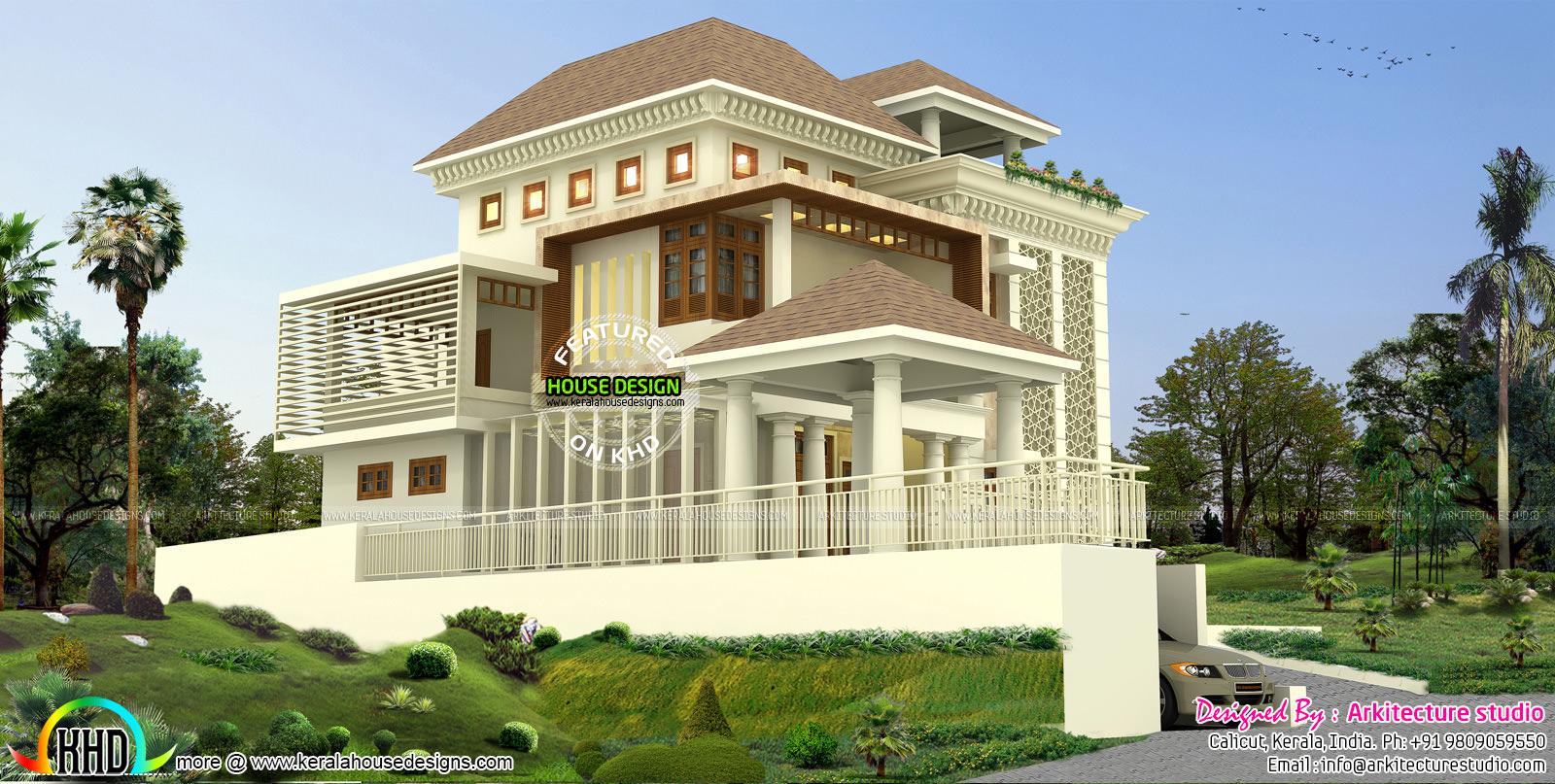 500 sq yd modern house architecture kerala home design for Home design 500 sq yard