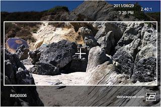 rocks and driftwood on beach through lens