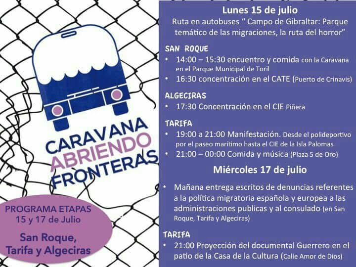 PROGRAMA ETAPAS de 15 al 20 de julio: CARAVANA FRONTERA SUR 2019 (Caravana Abriendo Fronteras)