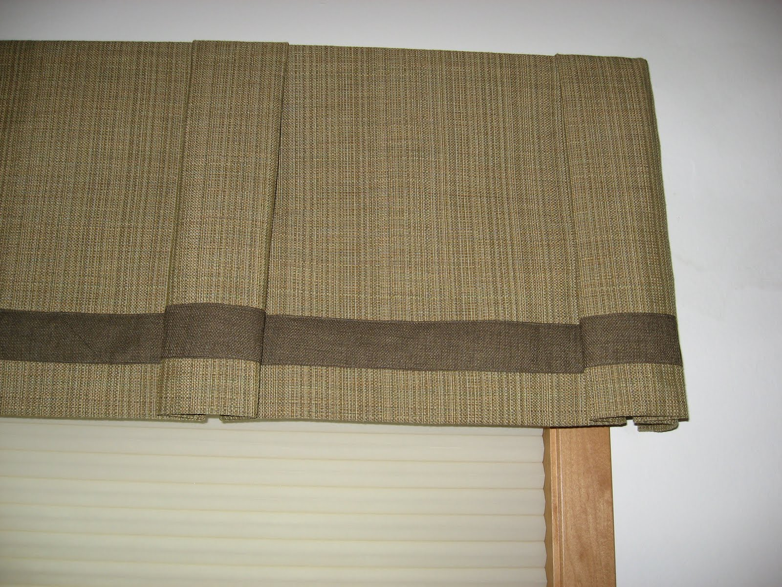 Window Fashions Box pleat valance trimmed with banding