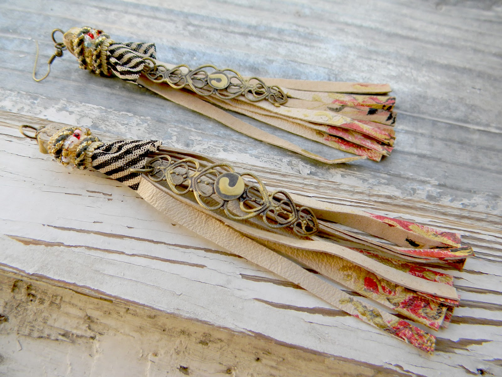Leather Fringe Handmade Art Earrings